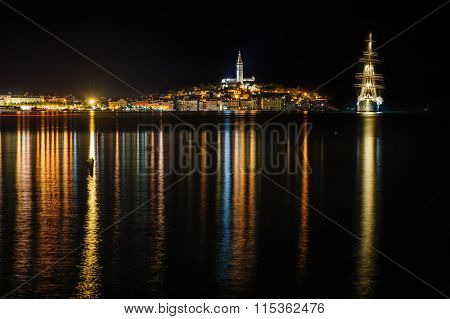 Rovinj sea side town at night, Croatia