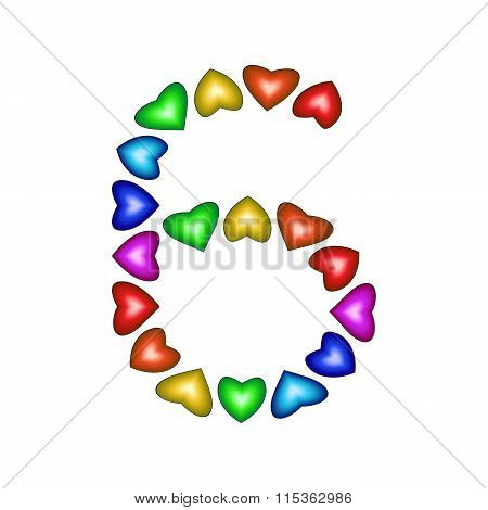 Number 6 Made Of Multicolored Hearts