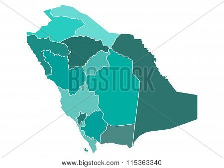 Saudi Arabia Political Map with Different Provinces borders in different shades of teal green. Edita