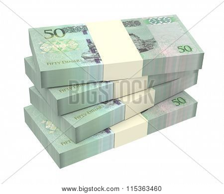Libyan dinar bills isolated on white background. Computer generated 3D photo rendering.