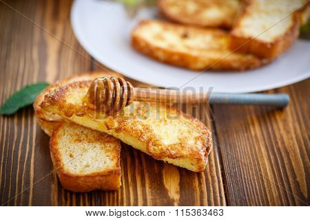 fried in batter toast with honey