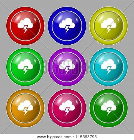 Heavy Thunderstorm Icon Sign. Symbol On Nine Round Colourful Buttons.
