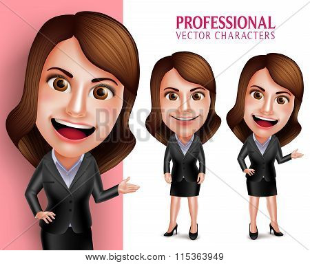 Professional Woman Character with Business Outfit Happy Smiling while Pointing or Showing
