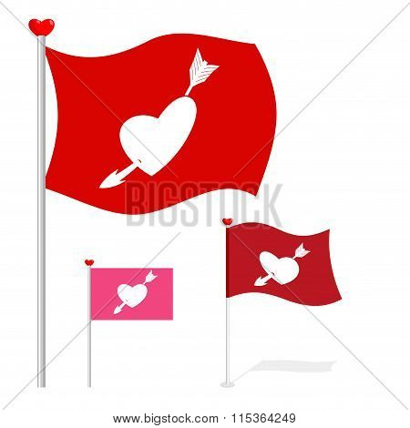 Valentines Day Flag. Red Banner Heart And Arrow. Evolving Flag For Lovers Day February 14.
