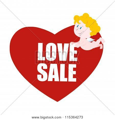 Sale Valentines Day. Heart And Cupid. Logo For Valentines Day Special Discount. 14 February. Little
