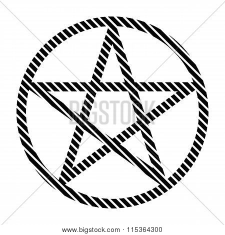 Pentagram Sign On White.