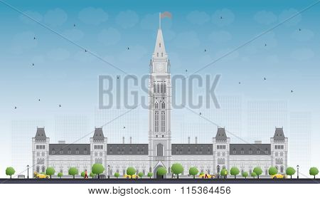 Parliament Building in Ottawa, Canada. Vector illustration. Business Travel and Tourism Concept with Historic Building. Image for Presentation Banner Placard and Web Site.