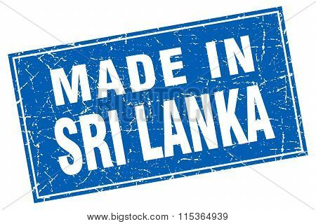 Sri Lanka blue square grunge made in stamp