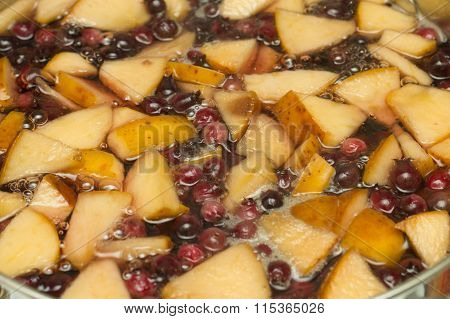 Boiling Apple June Berry Compote In Pan