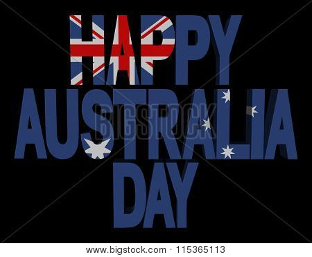 Happy Australia Day flag text illustration
