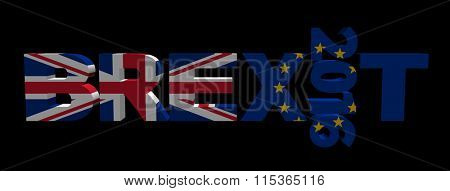 Brexit text 2016 with British and Eu flags illustration