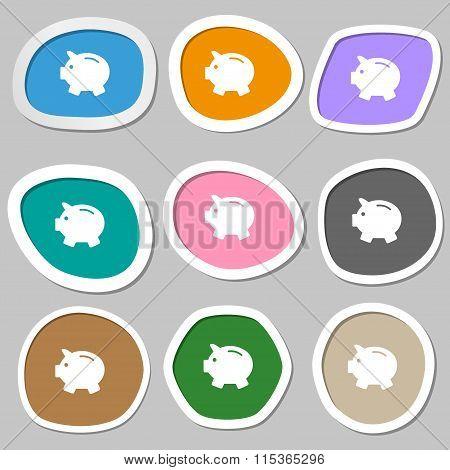 Piggy Bank - Saving Money Symbols. Multicolored Paper Stickers.