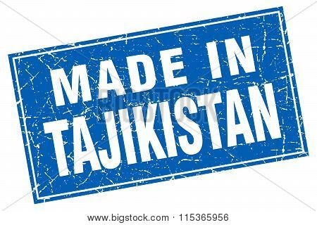 Tajikistan blue square grunge made in stamp
