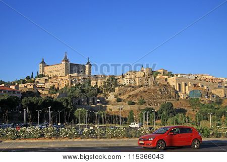 Toledo, Spain - August 24, 2012: View On Alcazar De Toledo From Side Of Tagus River, Toledo, Spain