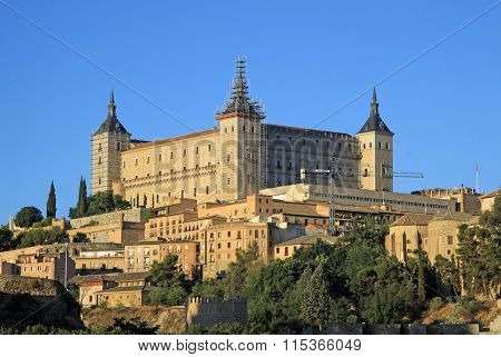 Toledo, Spain - August 24, 2012: View On Alcazar De Toledo From Side Of Tagus River, Toledo, Spain