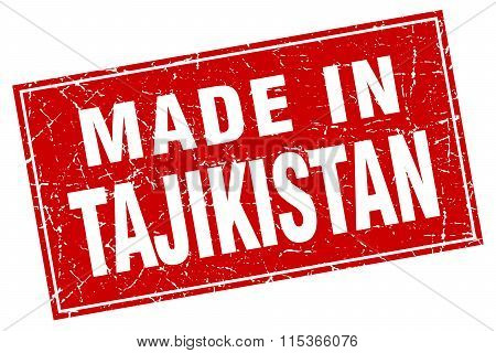 Tajikistan red square grunge made in stamp