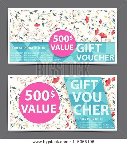 Floral gift voucher certificate coupon