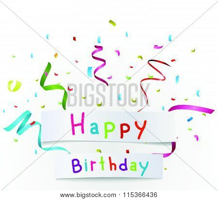 Happy birthday greetings with paper