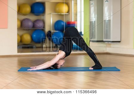 Woman Practicing Yoga Downward Facing Dog