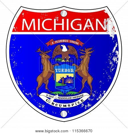 Michigan Flag Icons As Interstate Sign