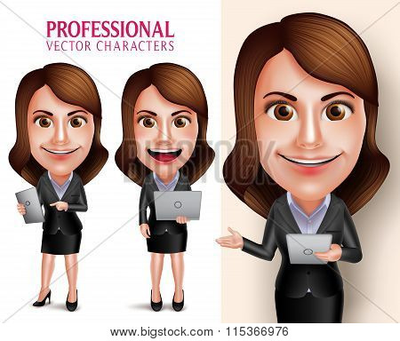 Professional Woman Character with Business Outfit Happy Smiling Holding Mobile Tablet