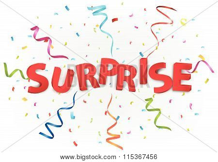 Surprise message with colorful confetti