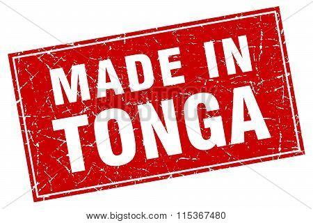 Tonga red square grunge made in stamp