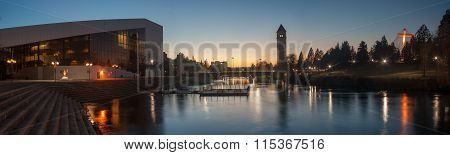 Spokane's Riverfront Park At Twilight