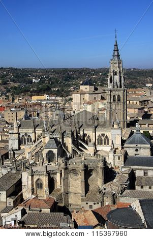 Toledo, Spain - August 24, 2012: Aerial View Of Toledo. Toledo Cathedral