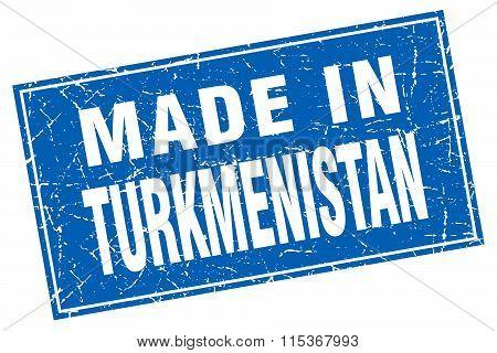 Turkmenistan blue square grunge made in stamp