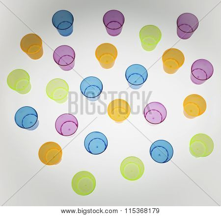 Background Multicolor Little  Plastic Glasses