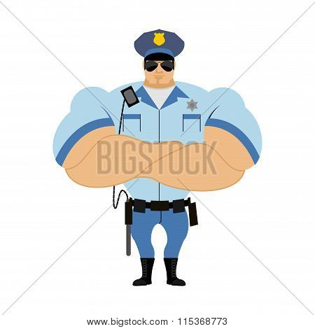 Police Officer. Man In Form Of Policing. Police Man In Bodybuilder Shirt. Strong Guardian Of  Law In