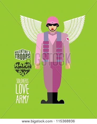 Soldiers Love Army. Cupid In Uniform. Helmet And Body Armor. Military Officer With Wings. Valentines
