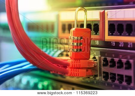 network and data protection concept with padlock and switch