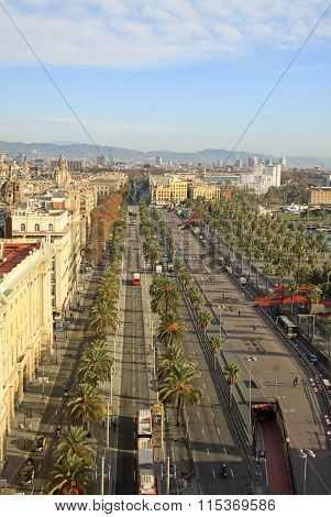 Barcelona, Catalonia, Spain - December 12, 2011: View From Columbus Monument To Ronda Del Litoral St