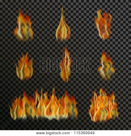 Set of realistic transparent fire flames on a plaid black white grid background