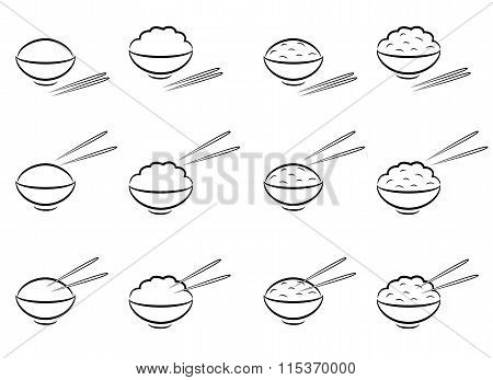 Rice Bowl Symbol With Chopsticks In Line Art