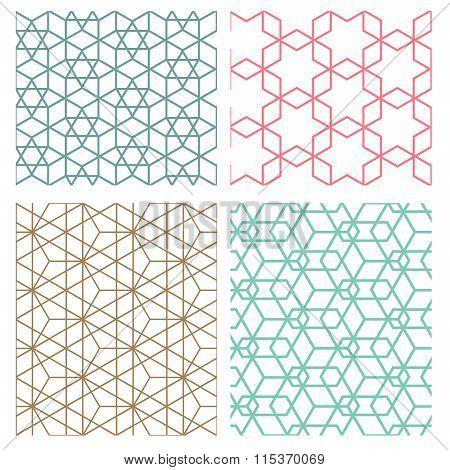 Mesh Geometric Seamless Pattern In Modern Korean Style