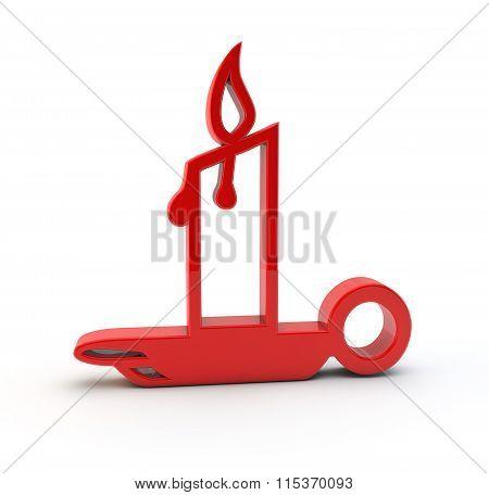 3D Candle Symbol