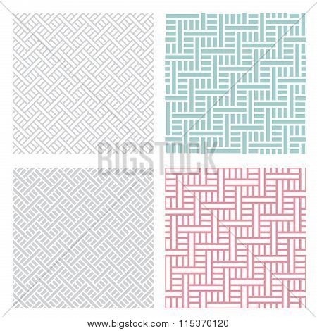 Geometric Weave Puzzle Pattern In Four Color