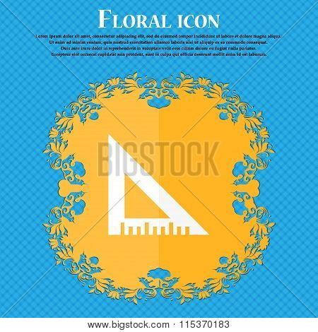 Ruler Icon. Floral Flat Design On A Blue Abstract Background With Place For Your Text.