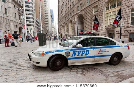 Nypd Car In Manhattan, Nyc.