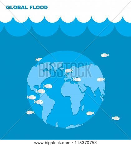Flooding Of Planet Earth. World In Water. Land Under Water. Ocean And Fish. Lovely Planet. Natural D
