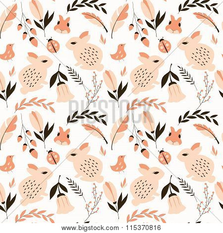 Seamless Pattern With Rabbits, Lady Bugs, Birds And Flowers