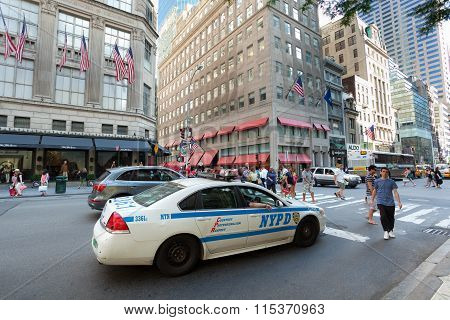 Nypd Car In Manhattan