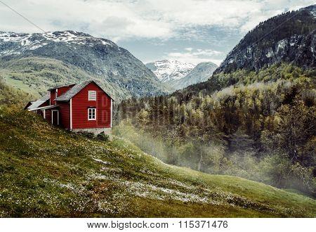 Red Cottage. Vintage