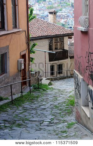 Narrow Cobbled Street In Veliko Tarnovo