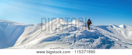 Tourist Rises The Top. Sunlight