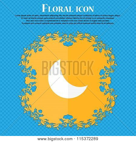 Moon Icon. Floral Flat Design On A Blue Abstract Background With Place For Your Text.