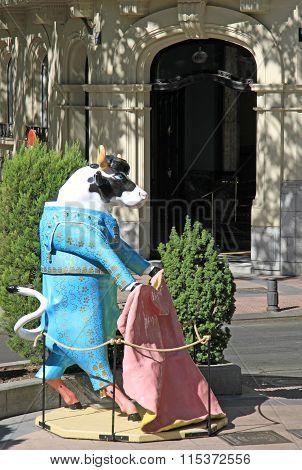 Madrid, Spain - August 24, 2012: The Bull-torero Statue In Madrid